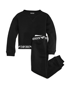 Armani Junior - Girls' Fleece Logo Tape Sweatshirt & Jogger Pants - Little Kid, Big Kid